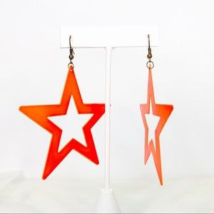 🌺 3 for $20 🌺 Large Florescent Star Earrings